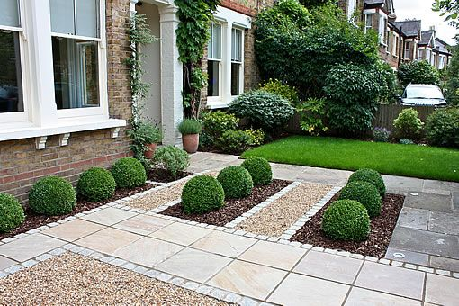 Formal front garden with paving gravel and box hedges for Formal front garden ideas