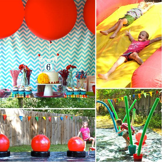 A Wet and Wild Wipeout Party //  Inspired by ABCs Wipeout, this water-obstacle-filled party would make any tot smile. With slippery slides, bouncing balls, and plenty of opportunities for getting wet and wild, this party is perfect for kids looking for a way to keep cool.