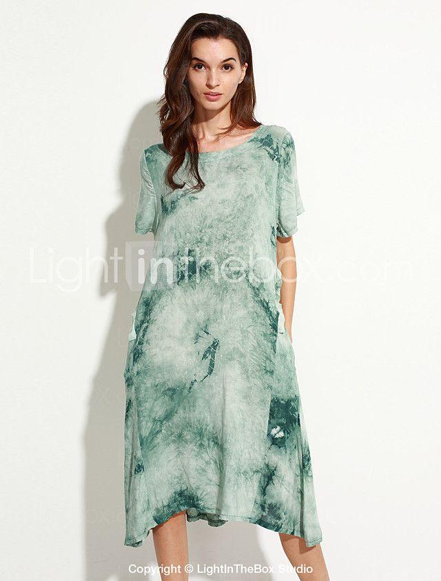 Bayanlar Dışarı Çıkma / Günlük/Sade Vintage / Sokak Şıklığı Salaş Elbise Desen,Kısa Kollu Yuvarlak Yaka Midi Mavi / Yeşil Pamuklu / Keten 2017 - $16.99