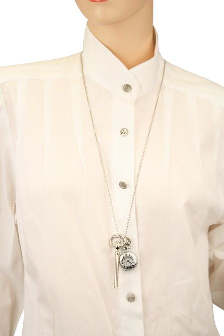 Ladies Charm Necklace - Two Piece Silver Tone [003032]