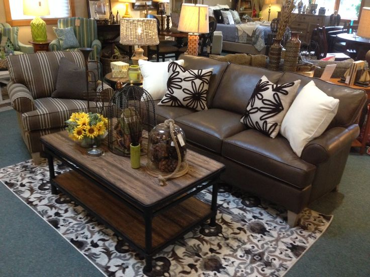 Best Apartment Size Sofa In Brown Leather Plank Top Coffee 640 x 480