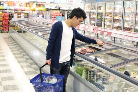 K-food stores gain savings by adding lids to chest freezers.