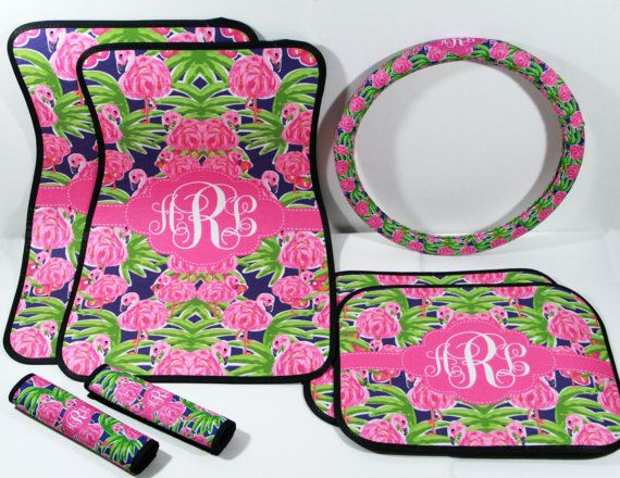 preppy floral flamingo lilly car accessories  car mats  steering wheel cover  u0026 seat belt covers