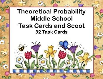 Lots of probability practice. Your students are asked to give their answers in decimals, fractions,and percents. The 32 task cards can be used for scoot (directions included) or in your math center. The spring theme makes them engaging as your students solve for the probability in a number of circumstances and answer in a number of ways.