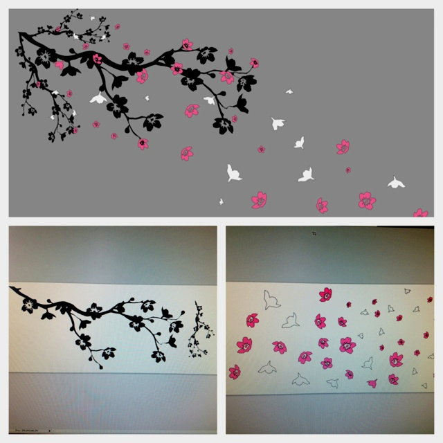 Our next idea, paint one wall grey and add the branches and blossoms to the wall on vynal, full layout and sheets on the pc after I designed it. Update will follow of the en result.