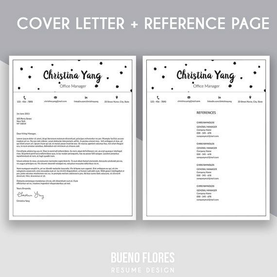 """Introducing """"Christina Yang"""" resume template, an elegant feminine multipurpose design, which includes a two page resume/cv,cover letter and reference page + free login keeper."""
