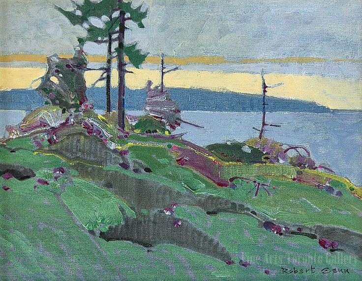 """Edge Pattern With Green & Alizarin"" by Robert Genn. Oil on canvas (11"" x 14"" unframed)"