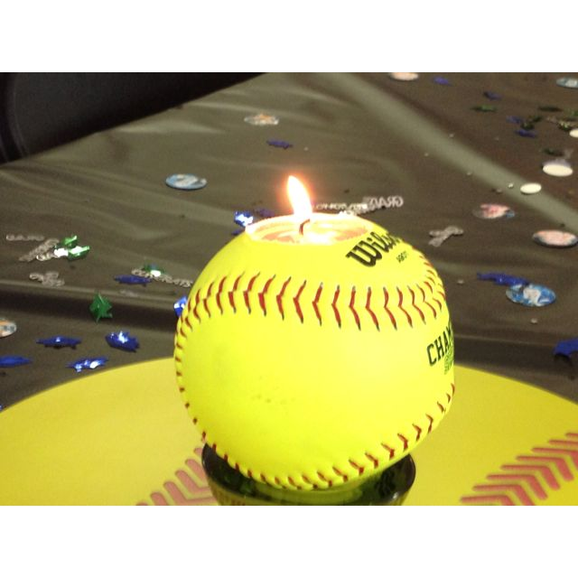 Softball candle holders I saw at a grad party! Great idea!#Repin By:Pinterest++ for iPad#