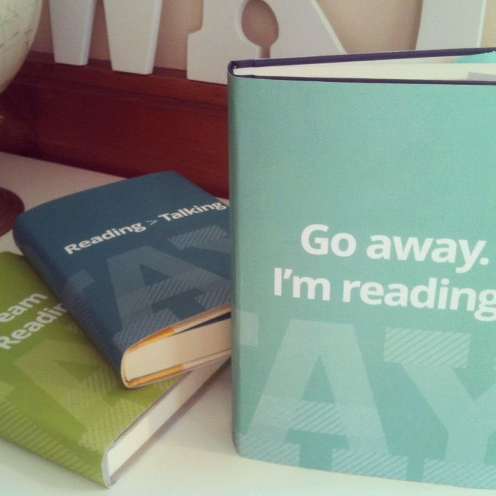 """""""Go away, I'm reading"""" printable book covers. I need one for when people just don't get it."""