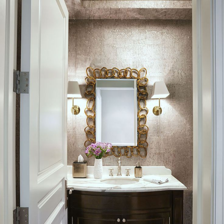 "Jewel-Box Effect - For a half-bath or powder room, go maximalist. ""Small spaces are perfect for lots of pattern, texture and color,"" says Anne. Her advice for pulling off the glamorous trend: Cover the walls and the ceiling with metallic paint or wallpaper, and add a statement mirror."