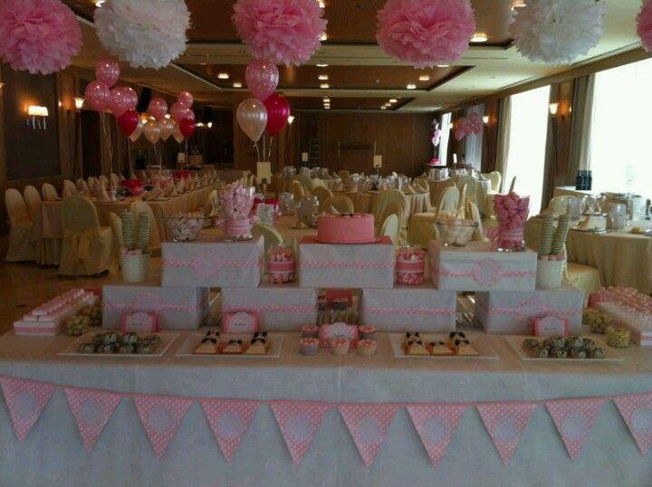 Diseño y decoracion de eventos. Mesa buffet dulce para comunion