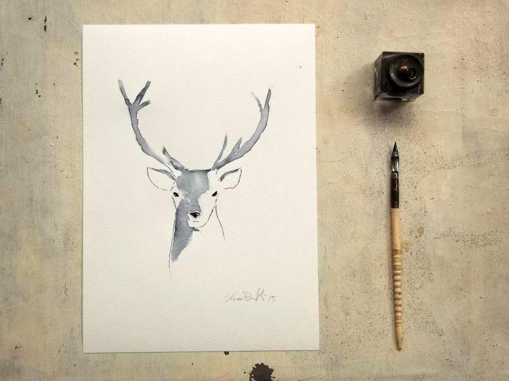 deer portrait original blue ink painting  - animal art - wall art by vumap on Etsy