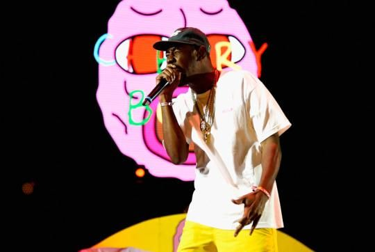"""Just four days after Tyler, the Creator alerted fans that he was rush-releasing his new album Cherry Bomb , the Odd Future rapper's third studio LP arrived on iTunes and streaming services. """"Look, get 12 bucks, go to Ralph's or a grocery store, purchase a $10 iTunes gift card, go on iTunes, look for Cherry Bomb. Puppies won't die,"""" Tyler tweeted ."""