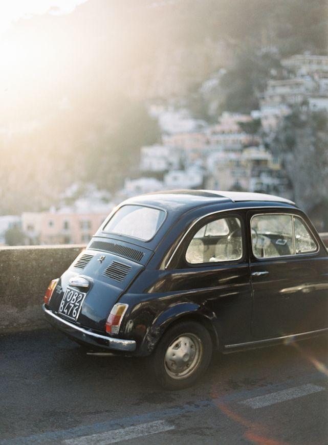 Vintage Fiat 500 Positano Italy Amalfi Coast Engagement
