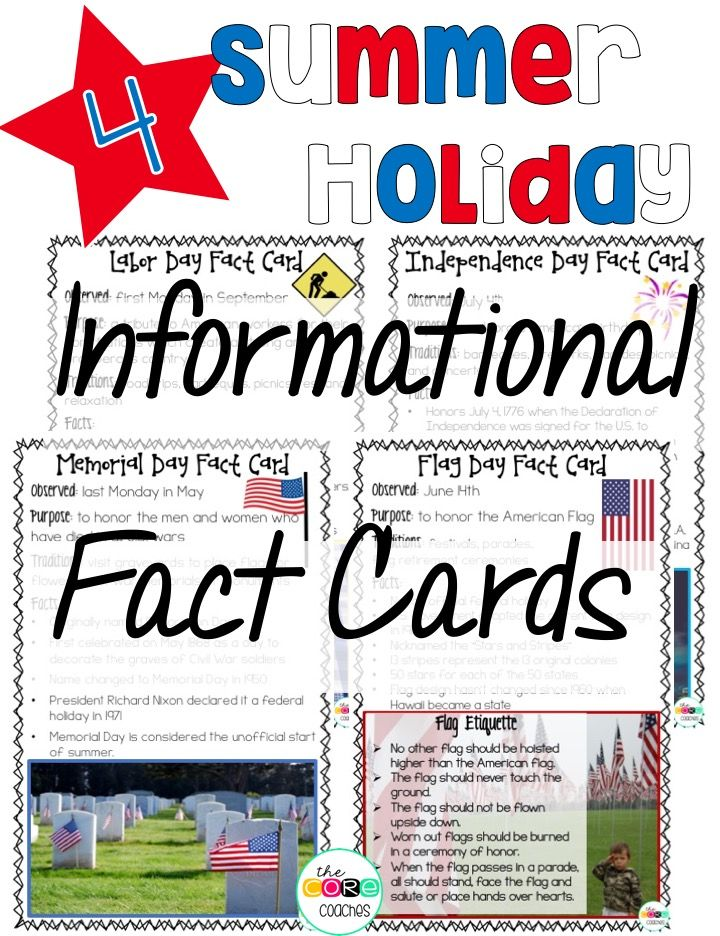 """4 Summer Holiday Informational Fact Cards. Memorial Day, Flag Day, Independence Day, Labor Day. One of many exciting activities to engage students during """"Summer Holiday Day"""". Daily, themed, end of year activities to review skills and countdown the days until summer break."""