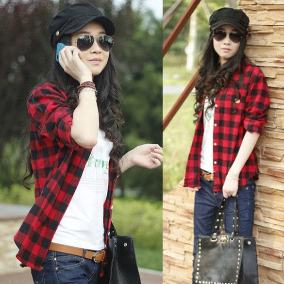 Button Cotton Lapel Shirt Plaids Flannel Shirt