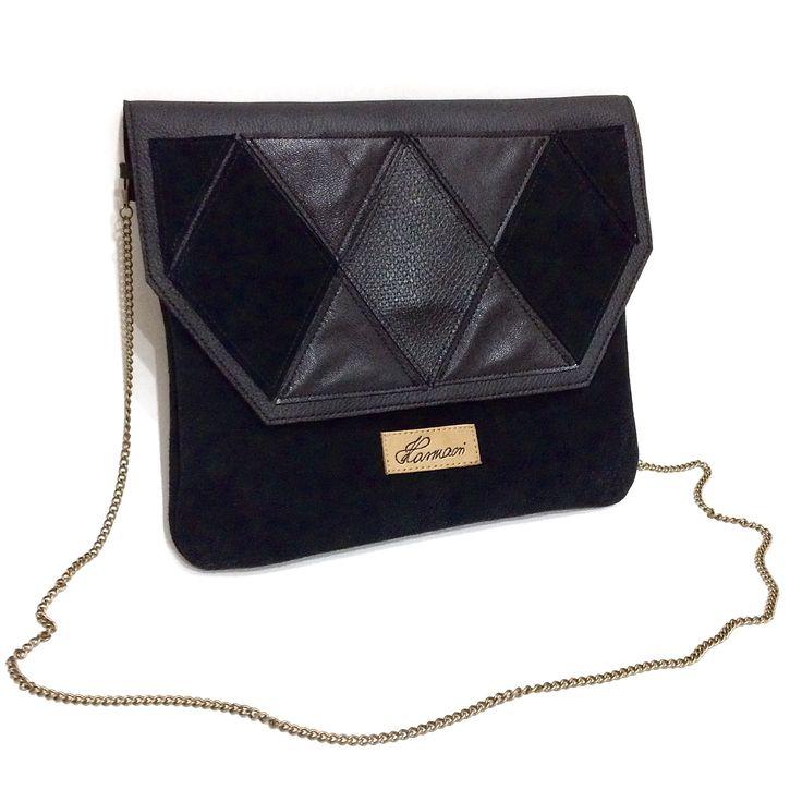 Black suede/leather rhombus crossbody