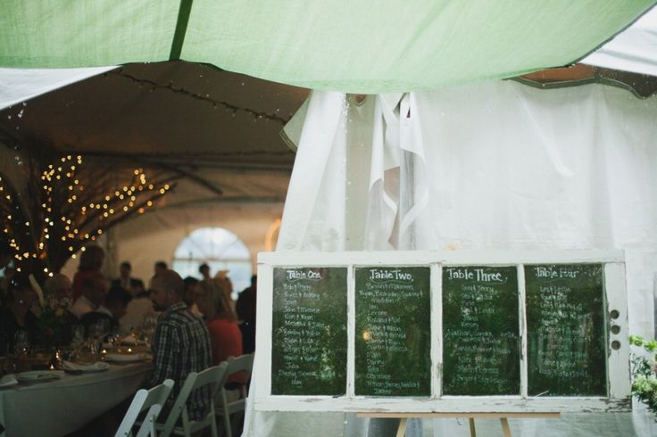 A lovely window pane seating chart for this intimate tent wedding.