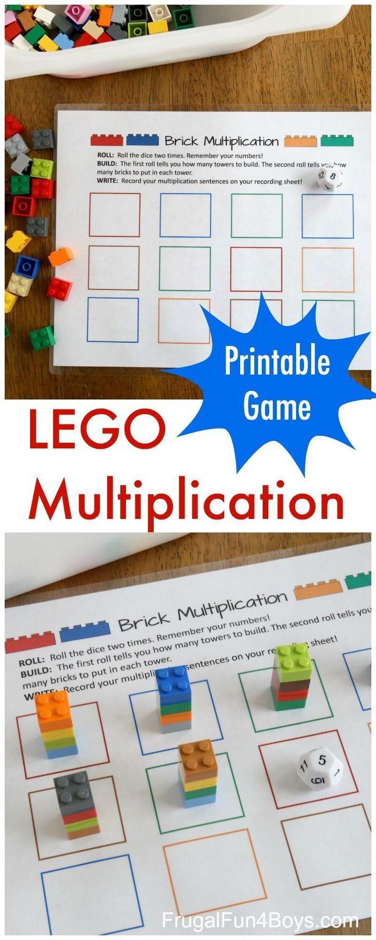 Printable LEGO Multiplication Game! A great free math game for kids! #freemathgames #LEGO #mathgamesforkids #mathpracticeonline #learnmathonline