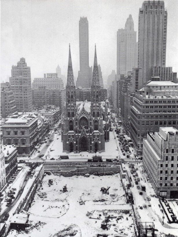 St. Patrick's Cathedral under snow New York City in the 1930s