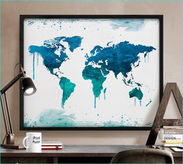 40 best creative remakes of the world map images on pinterest world map art print watercolor world map poster by iprintposter gumiabroncs Choice Image