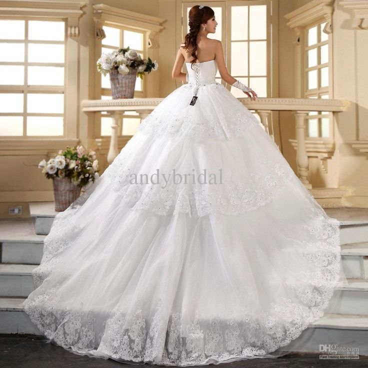 Extraordinary Lace Wedding Dress With Long Train