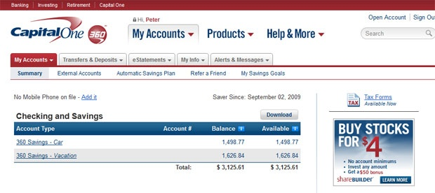 capital one 360 savings interest rate history