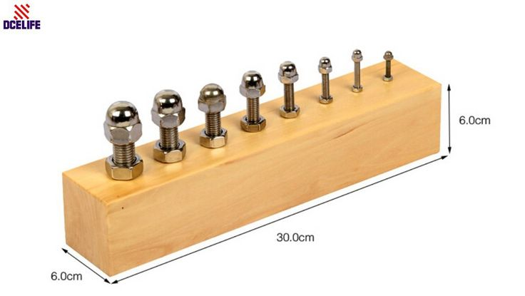 New Montessori Materials Sensorial Teaching Toy Lock Screw Group