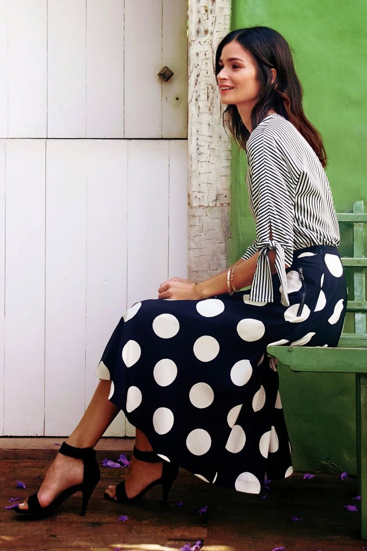 Eye Candy :: Anthropologie February 2015 Catalogue :: Effortless Anthropologie ~ love the stripes/polka dots combo!