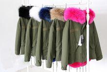2016 Parkas Para Las Mujeres de Invierno Verde Del Ejército Wadded prendas de Abrigo de Gran Tamaño natural real Cuello de piel Gruesa ropa de Abrigo Chaqueta Femenina Desgaste Nieve marca(China (Mainland))