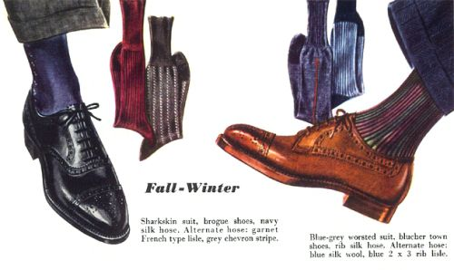 Esquire vintage footwear-Fall – Winter    Sharkskin suit, brogue shoes, navy silk hose.  Alternate hose: garnet French lisle, grey chevron stripe.    Blue-grey worsted suit, blucher town shoes, rib silk hose.   Alternate hose: blue silk wool, blue 2 x 3 rib lisle.
