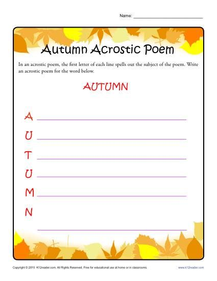 acrostic poem ideas In this video, i show you how to write an acrostic poem you can be very creative when writing your own acrostic poem, and i just used the word summer as an example for this video.