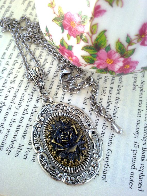 Rose Cameo Pendant Necklace Gothic Necklace Victorian Necklace Metal Rose Gothic Rose Necklace Gothic Jewelry Victorian Jewelry