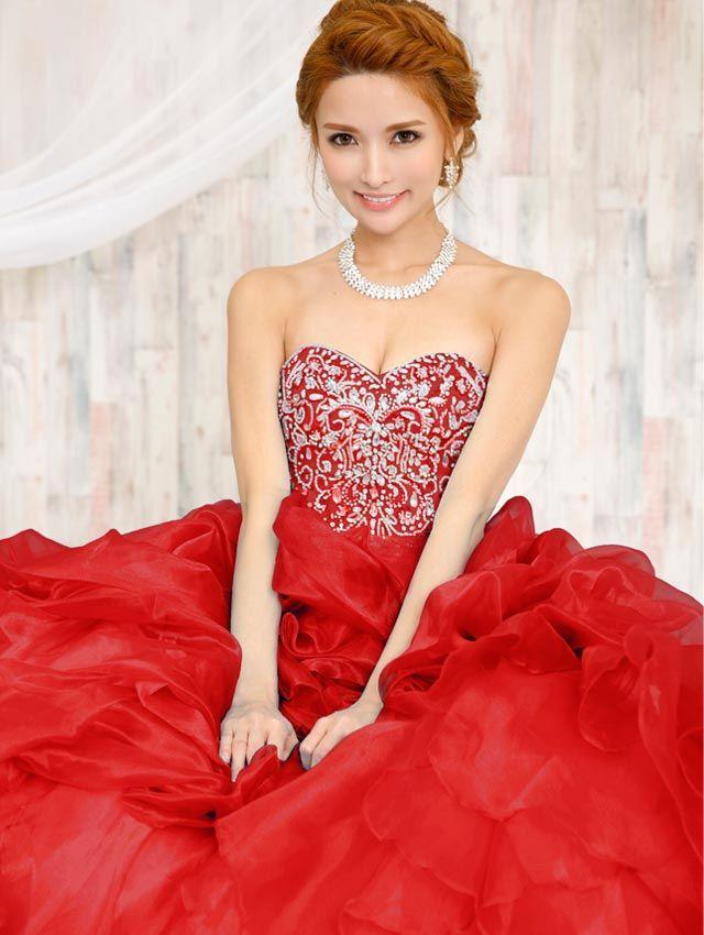高級キャバドレスAngelR(エンジェルアール)|花びらのようなオーガンジーが折り重なる ビジュー&パール&スパンコールたっぷり刺繍 姫ウエディングドレス(AR6604)