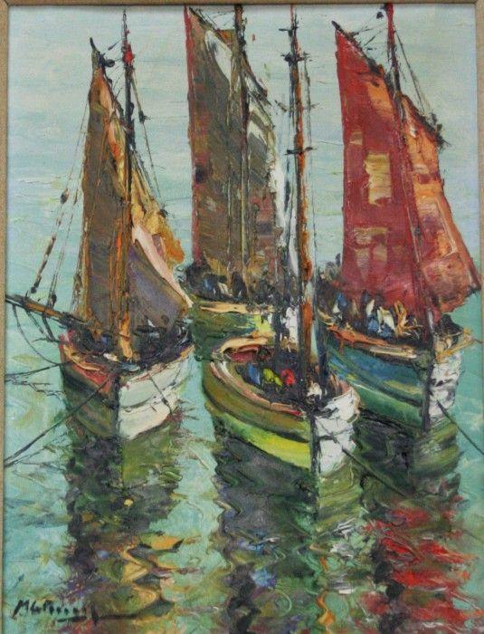 Картина маслом «Рыбацкие лодки на стоянке», неизвестный американский художник - прекрасный подарок на новоселье рыбаку, моряку купить с доставкой в магазине ДариАнтик.рф