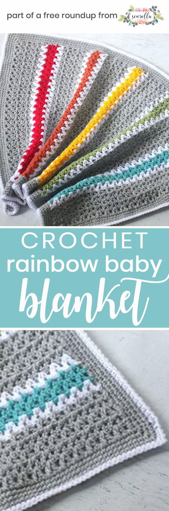 Get the free crochet pattern for this rainbow v-stitch stripes baby blanket from Repeat Crafter Me featured in my gender neutral baby blanket FREE pattern roundup!