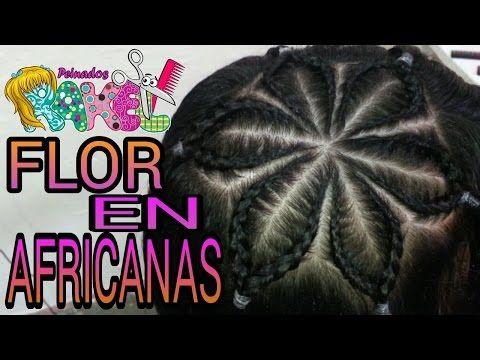 TRENZAS AFRICANAS/ FLOR EN AFRICANAS/ Peinados Rakel 4 - YouTube