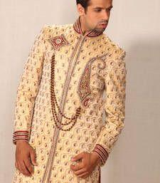 Buy golden dohra zari brocade embroidered sherwani sherwani online