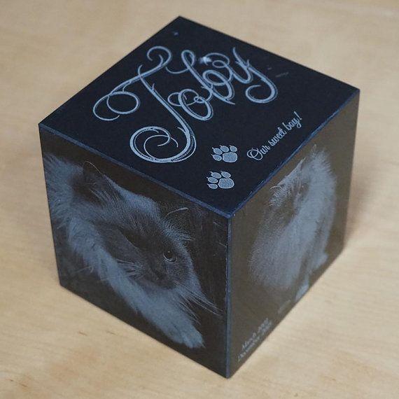 Cat Urn: 15 lbs.  Black Granite Pet Cremation Urn by ArcLightLaser