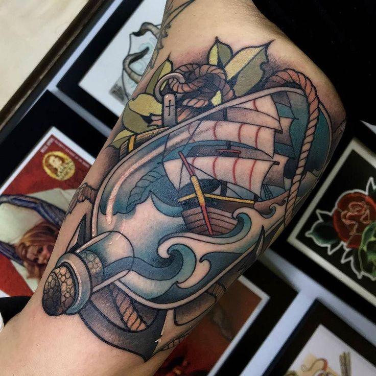Ship In A Bottle by @javierfranko at True Fellas Tattoo in Bogota Colombia. #