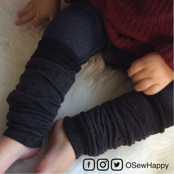 Charcoal Gray Black Polka Dots Baby Legs/ Leg Warmers by OSewHappy