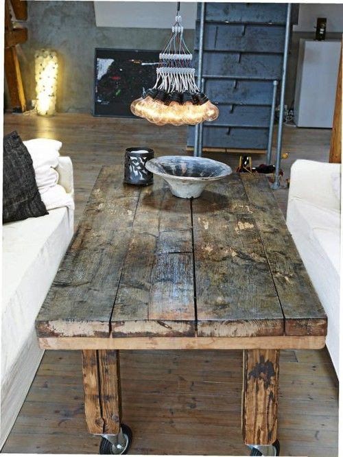 Cottage Industrial Chic Living Room. Coffee table made of reclaimed wood