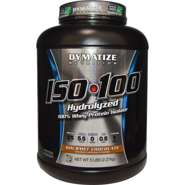 Dymatize Nutrition, ISO 100 Hydrolyzed 100% Whey Protein Isolate: Protein 25 Grams BCAAs 5.5 Grams Lactose 0 Grams Fat 0.5 Gram Sugars 1 Gram The Fastest-Acting Protein. The Highest Level of Purity.