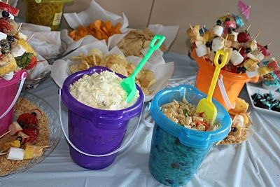 Food in sand pails for beach theme or pirate ship theme
