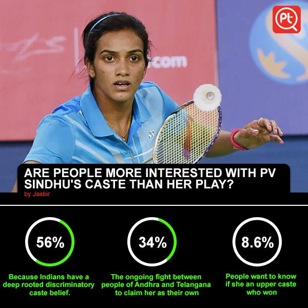 ARE ‪#‎PEOPLE‬ MORE ‪#‎INTERESTED‬ WITH P V Sindhu'S CASTE THAN HER ‪#‎PLAY‬? ‪#‎ShareYourOpinion‬ Posticker