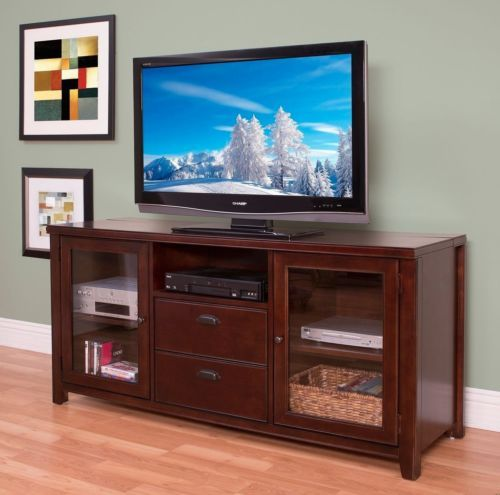 65 wood flat screen tv stand media console entertainment. Black Bedroom Furniture Sets. Home Design Ideas
