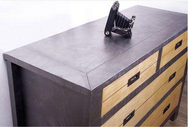 Commode bois peinte avec peinture effet metal couleur zinc. Factory enduit effet métal de Maison Déco
