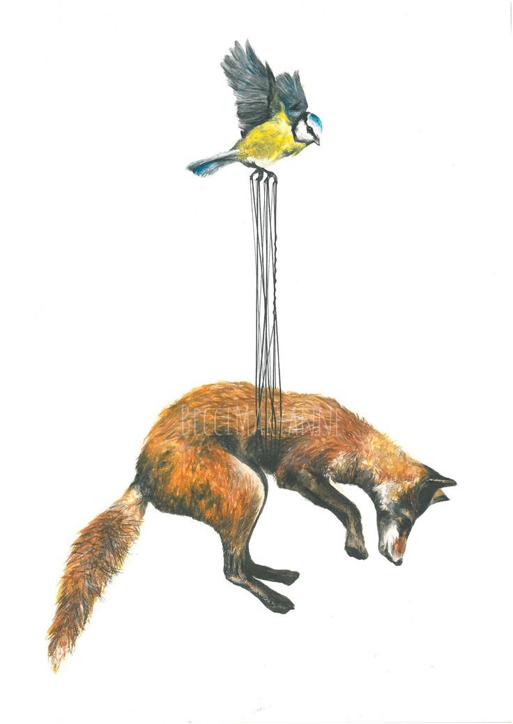 Stork Illustration (Fox / Bird) --  Art Giclee Print Ink Watercolour. £15.00, via Etsy.