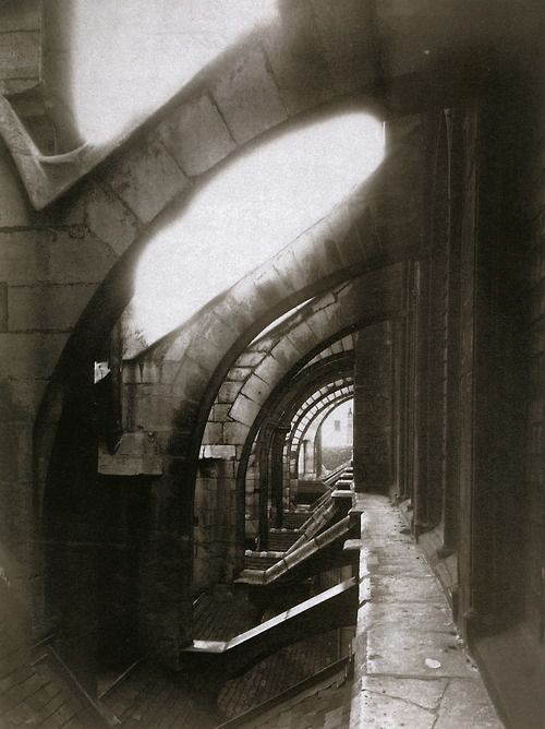 """Eugène Atget. """"Flying buttresses of the Church of Saint-Séverin, view taken from the roof"""". 1903. Paris, France."""