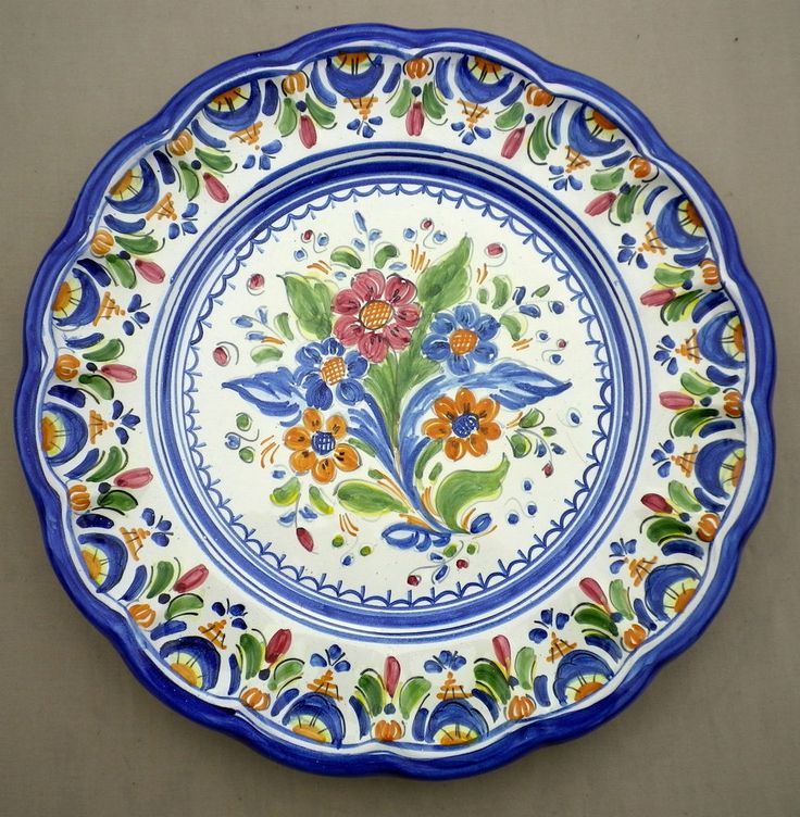 Vintage Hand Painted Portuguese Majolica Wall Plate Portugal Floral Design & 79 best Decorative Plate Sets images on Pinterest | Plate sets ...